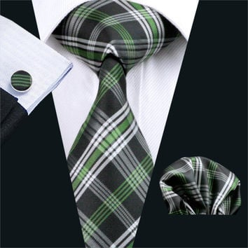 Men Tie Green Plaid Silk Jacquard Neck tie Classic Tie Hanky Cuff links Set Ties For Men Business Wedding