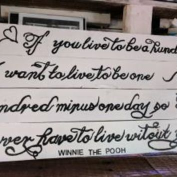 Rustic Reclaimed Wood-Winnie the Pooh quote-Love Sign-Wedding