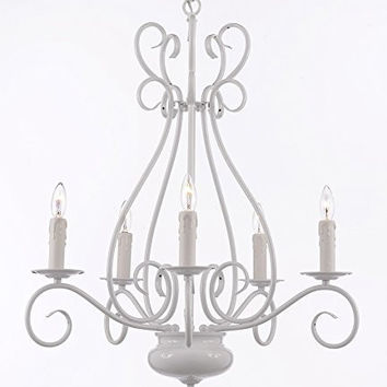 """White Wrought Iron Tole Chandelier Lighting H 25.5"""" X W 25.5"""" - A7-White/441/5"""