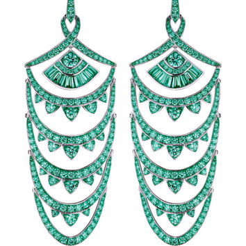 Stephen Webster Detachable 18K White Gold And Black Rhodium Earrings With Pave Emeralds by Stephen Webster - Moda Operandi
