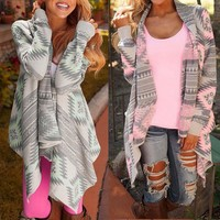 Women Cardigan Fashion 2016  Fall Asymmetrical Long Cardigans Geometric Printing Loose Casual Spring Shrug Coats Jacket