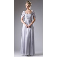Sweetheart Neck A-Line Full Length Formal Dress with Sleeves Silver