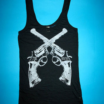 black tank, free shipping etsy, heavy metal, womens gun tank, fashion tank, 1AEON women's burnout black soft tank with western colts - M