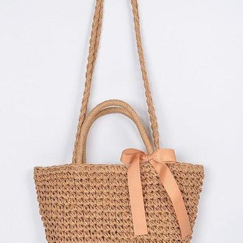 Too Cute For Her Straw Clutch With Ribbon