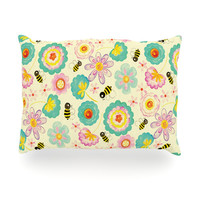 "Louise Machado ""Floral Bee"" Tan Teal Oblong Pillow"