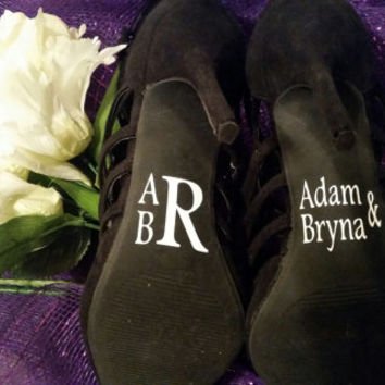 Monogram Wedding Shoe Decals, Wedding Day Photo Prop Bride Shoe Decal, Custom Wedding Shoe Decals