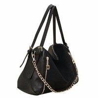 Retro Pure Color Zip Handbag Shoulder Bag