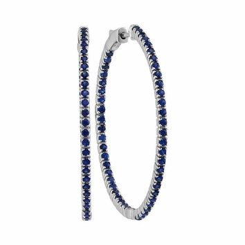 14kt White Gold Women's Round Blue Sapphire Large Slender Inside Outside Hoop Earrings 2-7-8 Cttw - FREE Shipping (USA/CAN)