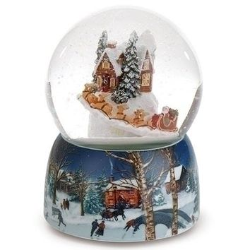 Roman Holiday Village House Musical Snow Globe Water Dome