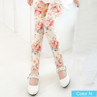 White with Rose Girls Floral Pattern Leggings