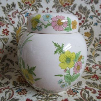 Vintage Small 60s Sadler Pottery Ginger Jar Staffordshire England Blossom Floral 1960s Ceramic Container