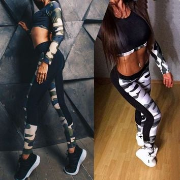 High Waist Women's Camouflage Outfits Yoga Fitness Leggings + Long Sleeve Crop Top