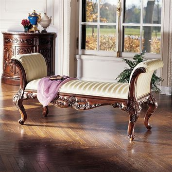 Maison Mehieu Bench Hardcarved Wood Sateen Fabric Curved Ends 60W