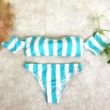 Sexy Vertical stripes green white off strapless short sleeve two piece