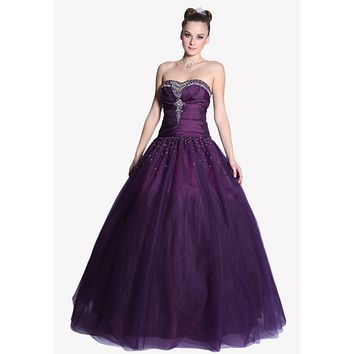 CLEARANCE - Strapless Plum Cinderella Gown Rhinestone Princess Tulle Poofy Gown (Size L, 2XL)