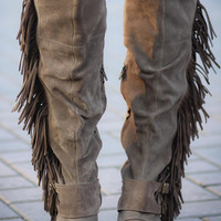 Just for the Thrill Over the Knee Suede Fringe Boots (Taupe)