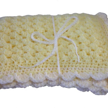 "Baby Blanket Hand Crochet, Lemon Yellow with cream trim, Thick quality stitches, 20"" 51cm by 26"" 66cm, baby gift, baby shower, pram blanket"