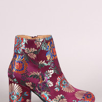 Qupid Floral Brocade Satin Round Toe Blocky Heeled Booties | UrbanOG