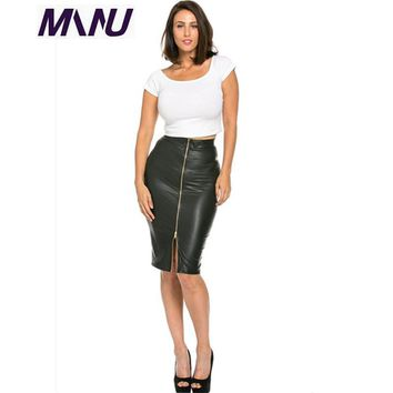 WBCTW England Style Customized PU Black Solid 2018 Sexy Pencil Summer Jupe Femme Midi Length Office Skirts 6XL 7XL Plus Size