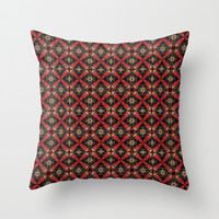 Textured Black Red and Gold Abstract Multi-Tile Print Throw Pillow by Sheila Wenzel