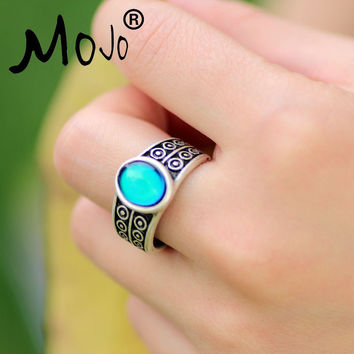 Mojo Vintage Bohemia Retro Color Change Mood Ring Emotion Feeling Changeable Ring Temperature Control Ring for Women MJ-RS007