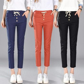 DCCK0OQ Autumn Korean High Waist Pants Casual Cropped Pants [8664672263]