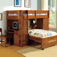 A.M.B. Furniture & Design :: Bedroom furniture :: Bedroom Sets :: Bunk Bed Sets :: Harford II Dark Walnut Finish Twin over Twin Loft Bed with Built in Computer Desk and Chair with Front Access Ladder