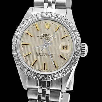 Datejust Rolex watch white stick dial diamond bezel SS jubilee