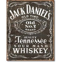 Jack Daniels Whiskey Tin Metal Sign :Woodcut Logo , 12x16
