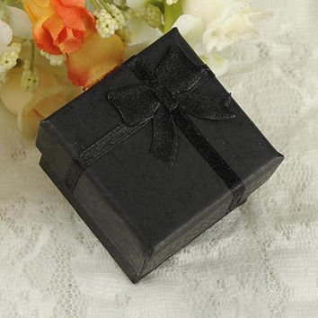 24pcs black square jewelry ring gift present cardboard case box display package holder JFY66