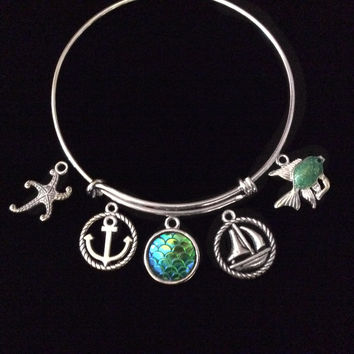 Sailboat Starfish Mermaid Scales Anchor Fish Expandable Charm Bracelet Silver Adjustable Bangle Nautical Trendy