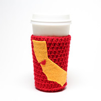 State Beer Bottle Koozie, California Accessories, Crochet Red & Gold Can Cozy, Bay Area Coffee Cozy, 49ers Inspired Drink Holder