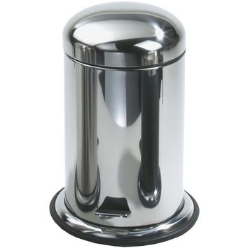 TE 60 Round Step Trash Can, Stainless Steel Wastebasket W/ Lid Cover