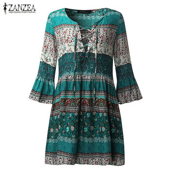 ZANZEA Women Vintage Floral Print Sexy Party Mini Dress 2017 Lady Ruffled Flounce 3/4 Sleeve Deep V Neck Lace Up Casual Vestidos