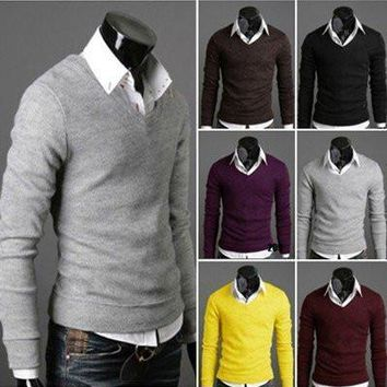 Men's Pullovers v-neck Knitwear Sweaters