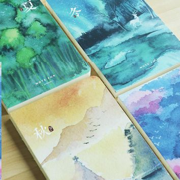 NOTE FOR Four Seasons A5 Japanese Vintage Painting Notebook 100G Paper Blank Pages Notebook Sketchbook DIY Diary Gift