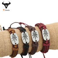 European Fashion 100% Brown Cow Leather Wrap Bracelet Wristband Women Men Plant Weed Leave Bracelet Hand Braided Cuff Bangle