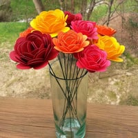 Paper Flower Bouquet - Paper Mums and Roses (12) - Perfect for weddings, bridal bouquets, anniversaries, showers
