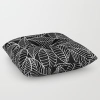 Leaves in white Floor Pillow by Julia Grifol Designs