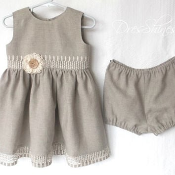 Baby girl 1st birthday outfit Grey organic linen sleeveless dress and bloomers Flax lace