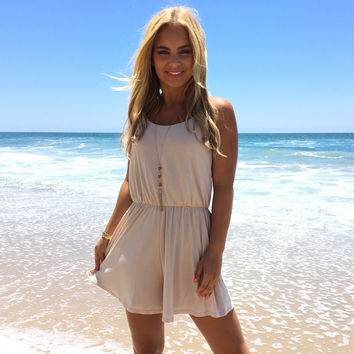 Suede Ways Romper In Taupe
