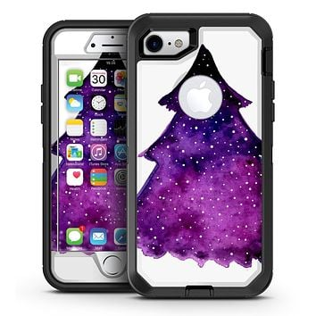 Purple Watercolor Evergreen Tree - iPhone 7 or 7 Plus OtterBox Defender Case Skin Decal Kit