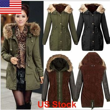 Women Warm Winter Parka Long Coat Fur Hoodie