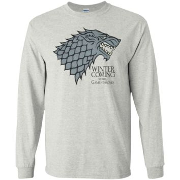 Official T Shirt Game of Thrones Black Stained G240 Gildan LS Ultra Cotton T-Shirt