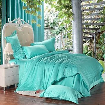 Cliab Turquoise Queen Sheets Duvet Cover Set 100% Tencel 4 Pieces