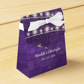 Ultra Violet Wood String Lights Mason Wedding Favor Box
