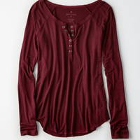 AEO Soft & Sexy Long-Sleeve Henley T-Shirt, Plum