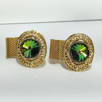 Watermelon Rivoli Cuff Links, Vintage Cuff Links, Mesh Wrap Cuff Links, Unisex Cufflinks, Men's Women's Accessory, Formal Wear, Cufflinks