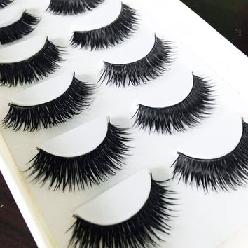 New 6 Pairs Natural Fake Eye Lashes Makeup Handmade False Lashes Thick Black Cross Long False Eyelashes Extension
