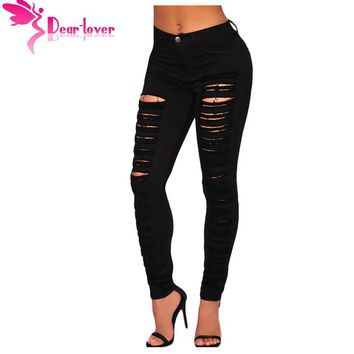 Fashion Casual Denim Destroyed Hole High-waist Skinny Jeans Pencil Ripped Pants